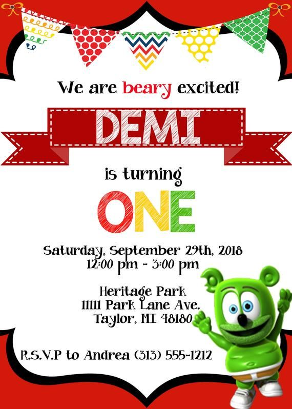 Having A Gummy Bear Theme Birthday Party Grab This Super Cute Invite You Can Send To Your Friends Via Email Text Or Have It Printed At Any Photo