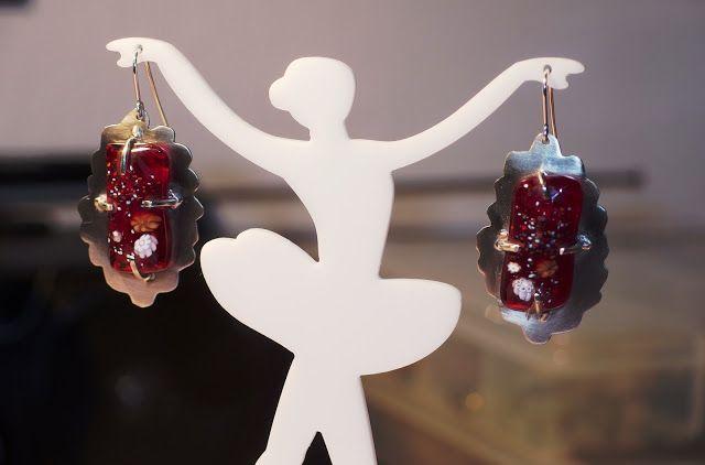 handmade jewellery - Kiki   χειροποίητα κοσμήματα: German silver earrings and pendant (silver 925 cha...