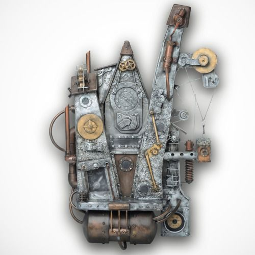 Town Hall With Elevator: Steampunk Art And Steampunk Sculpture For Sale.  Metal Wall Art