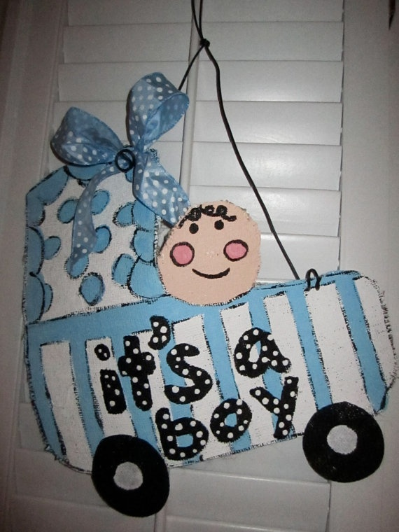 It's A Boy Burlap Door Hanging/ Door Decoration by nursejeanneg, $28.00