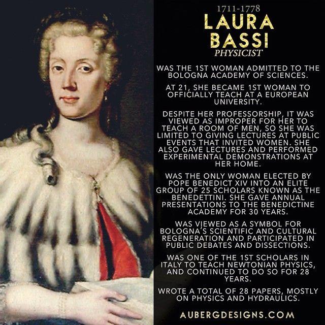 Laura Bassi, Physicist. #WomensHistoryMonth #WomeninSTEM http://ift.tt/1BiCyhr