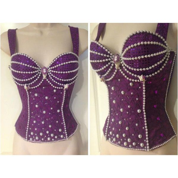 Ariel the Little Mermaid Corset (110 CAD) ❤ liked on Polyvore featuring tops, corset tops, embellished tops, purple top, corsette tops and purple corset