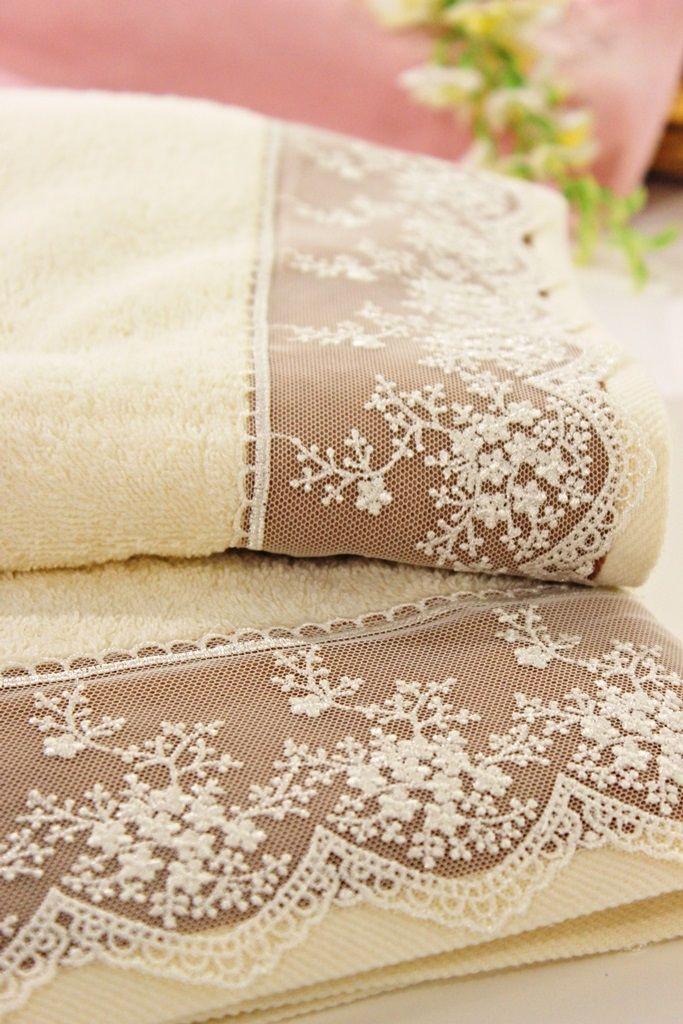 Dantelli Banyo Havlusu | Banyo Tekstili | Moda Fabrik