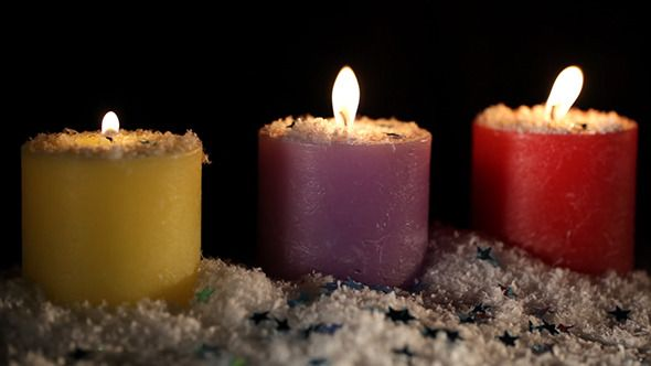 Three Candles Under The Snow On Black