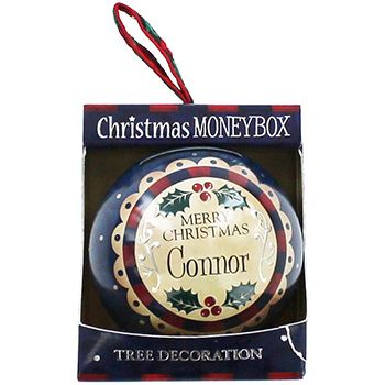 Personalised Money Box Bauble - Connor   Money Boxes at The Works