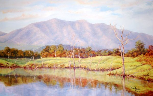 Matusadona Hills, Lake Kariba, Zimbabwe. Oil on Canvas. Painting by Dinah Beaton