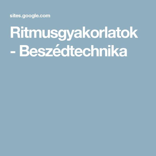 Ritmusgyakorlatok - Beszédtechnika