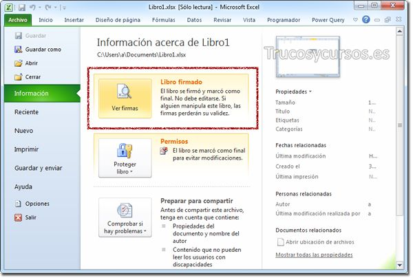 Botón de Ver firmas para eliminar certificados digitales o firmas digitales en Excel