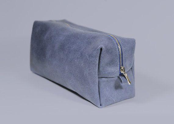 """Genuine Leather Dopp Bag """"Oscar Jeans"""", Mens Toiletry Bag, Blue Leather Dopp Kit, Gift for Men, Mens Travel Bag, Leather Shaving Kit"""