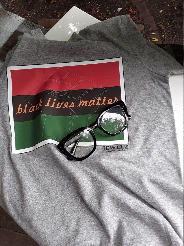 BLM Black Lives Matter tshirt black fist tee green red