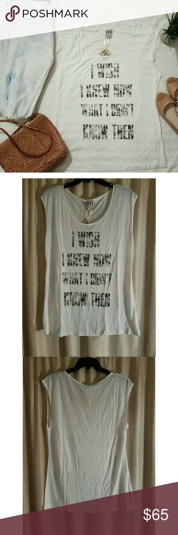 """Cap sleeve Tee by haute hippie **Brand New** boyfriend t-shirt by haute hippie with the saying, """"I wish I knew now what I didn't know then."""" Shirt color is Swan (ivory/off white) with black faded lettering. 100% modal, size large. Shirt will look awesome with some skinny jeans in my closet. Get your bundle deal today! Haute Hippie Tops Tees - Short Sleeve"""