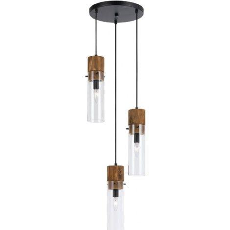 Luminaire suspendu en métal bronze avec suspendus cylindriques en bois et en verre clair. Ajustable en hauteur pour créer différents effets.