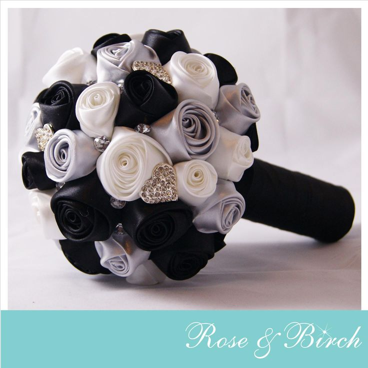 Small Bridal/Wedding Bouquet in black, white & silver with bling and crystals www.roseandbirch.com www.facebook.com/roseandbirch Handmade bridal/wedding bouquets bouquet