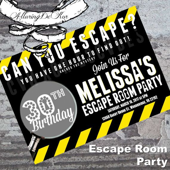 12 best Escape room party images on Pinterest Birthday party ideas