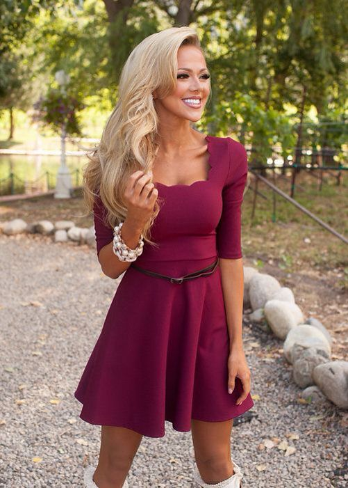 Scalloped Belted Dress Burgundy Clearance Dresses