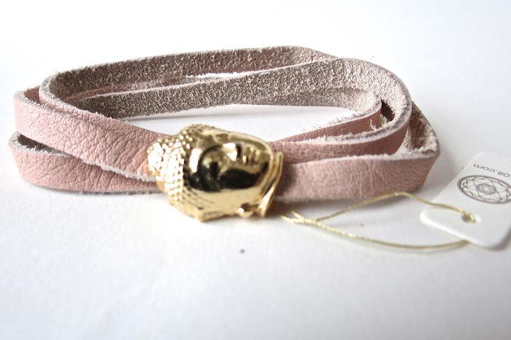 raj108 leather bracelet  budda buddahead kundalini yoga yogic grace your universe lifestyle golden jewellery dusty pink vintage pink soft leather