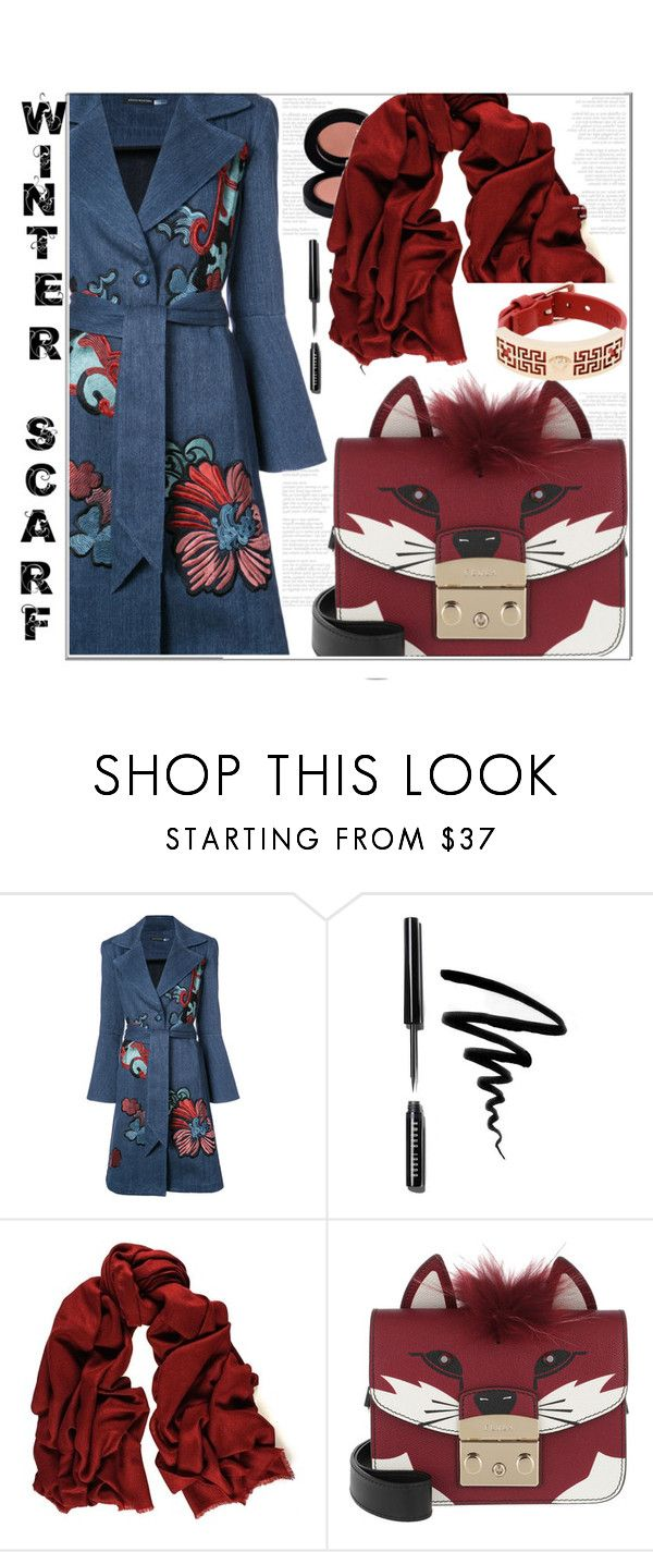 """""""Wrapper's Delight: Winter Scarf"""" by liviagb ❤ liked on Polyvore featuring Natori, Bobbi Brown Cosmetics, Black, Furla, Versace and winterscarf"""