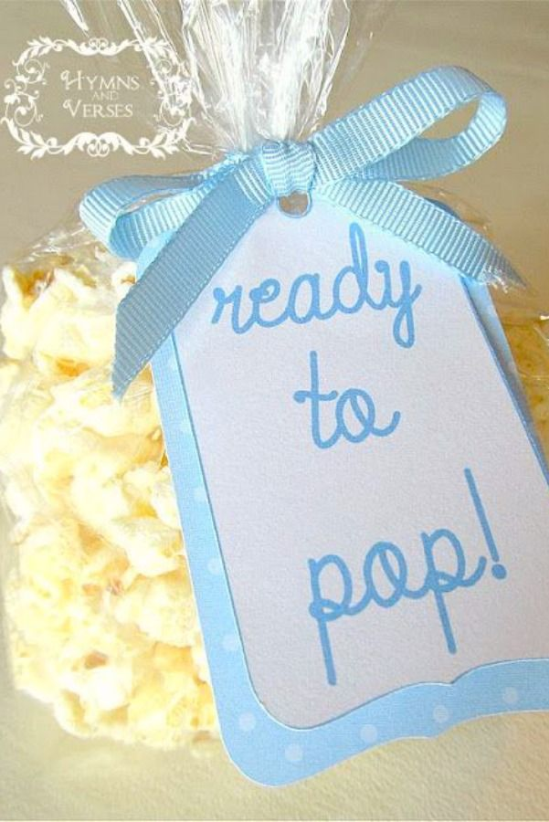 "Ready to Pop ~ Cute and Easy Popcorn Favors for a Baby Shower... clear bags, kettle corn, ribbon and tags that say ""ready to pop"""