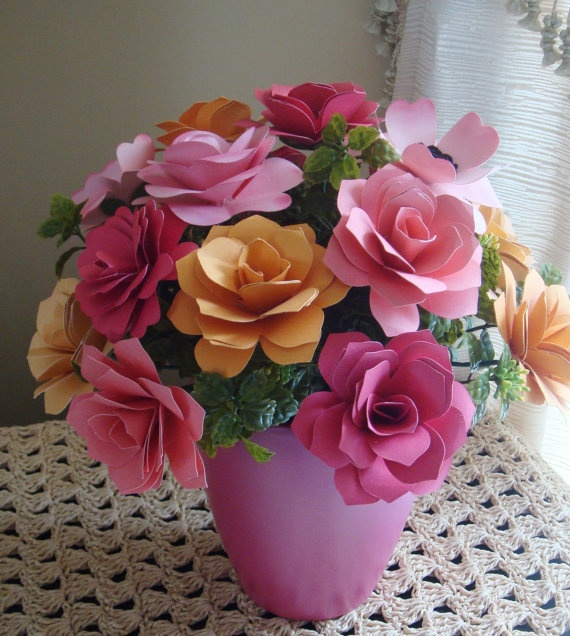 Paper Flower Arrangement Perfect for by SweetPeasPaperFlower, $30.00