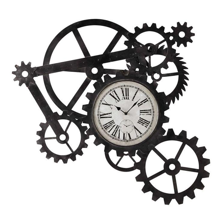 ENGRENAGE metal industrial clock W 86cm