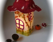 "Table Lamp cover  ""Christmas house""  Wet Felted.Waldorf."