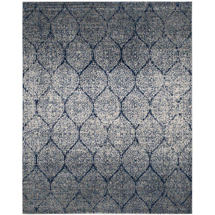 Mistana Katie Navy Blue Silver Area Rug Reviews Wayfair Vintage Area Rugs Blue Gray Area Rug Geometric Area Rug