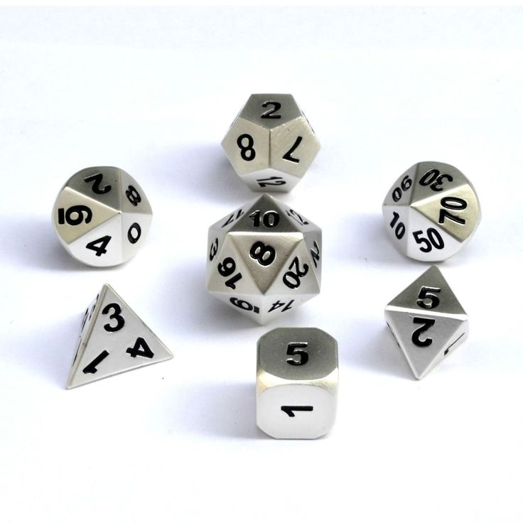7pc DND Metal Dice Set, Role Playing Board Games RPG Pathfinder Wargame, Silver #LOEHAS