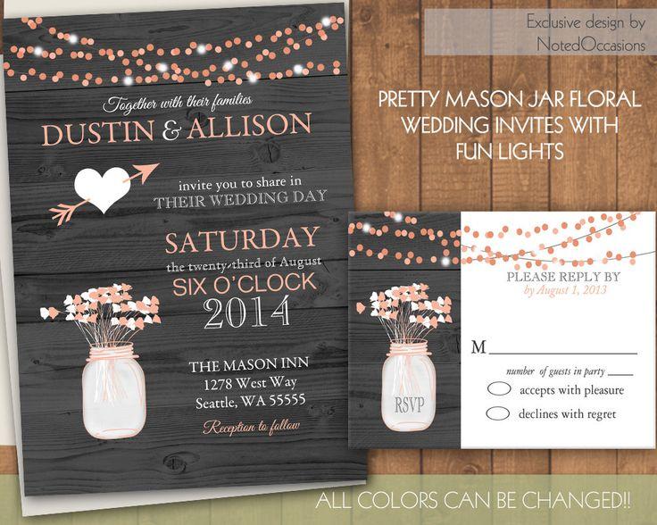 Rustic Wedding Invitations  Mason jar & dangling by NotedOccasions, $50.00