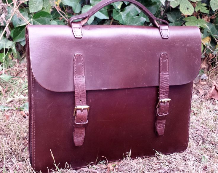 Vintage leather briefcase, thick brown leather ladies briefcase, brown leather satchel purse, brown leather satchel bag, brown briefcase by LuckSy on Etsy
