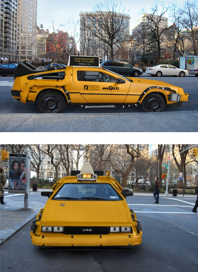 Ok so this would be the only time I chose a taxi over the subway!  a Delorean Taxi now on the streets of NYC!