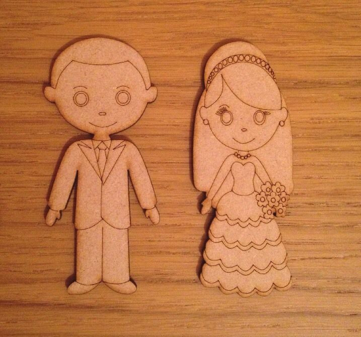 3,67+7,77 Bride And Groom Mdf Shape Couple Cutout Craft Wedding Decor Wooden Blank
