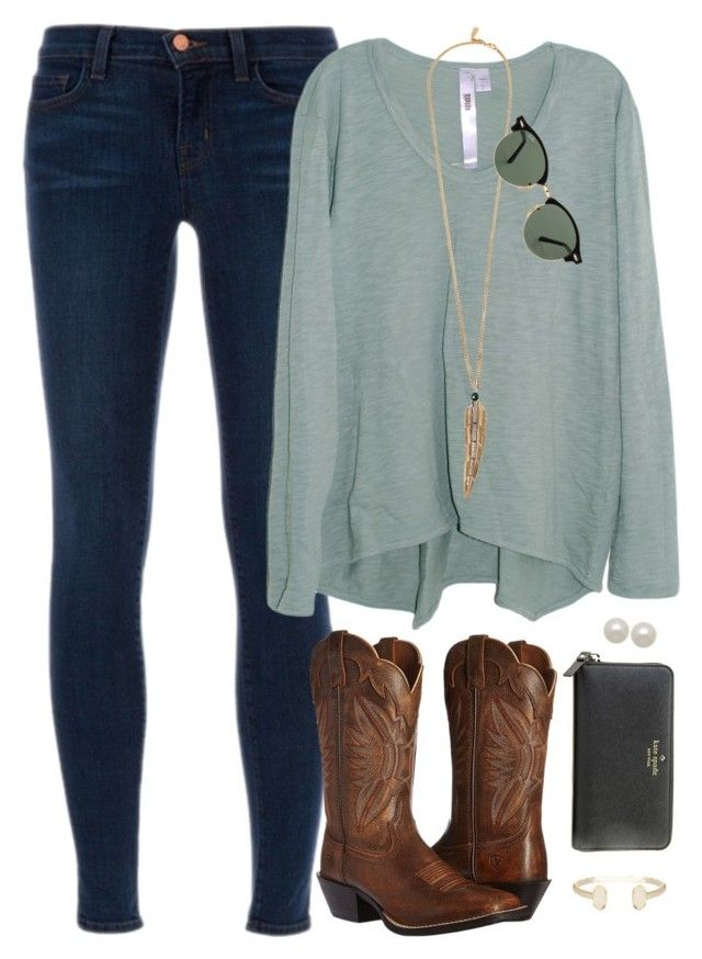"""It's Fall Y'all"" by smbprep ❤ liked on Polyvore featuring J Brand, Ariat, Wilt, Roberto Cavalli, Kate Spade, Ray-Ban, Honora and Kendra Scott"