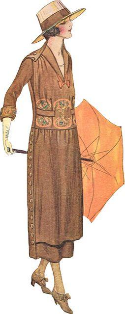 fashion -woman's brown suit vintage fashion plate