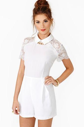 All White Lace Romper