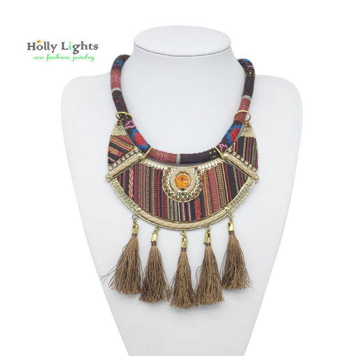 2016 New women bohemian necklace&pendants camel fringe choker necklace za tribal ethnic boho jewelry mujer vintage tassel bijoux