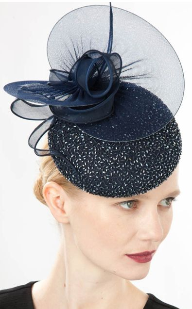 Jane Taylor Millinery, A/W 2014. Claro - Beaded silk cocktail hat with silk tulle discs & organdy.