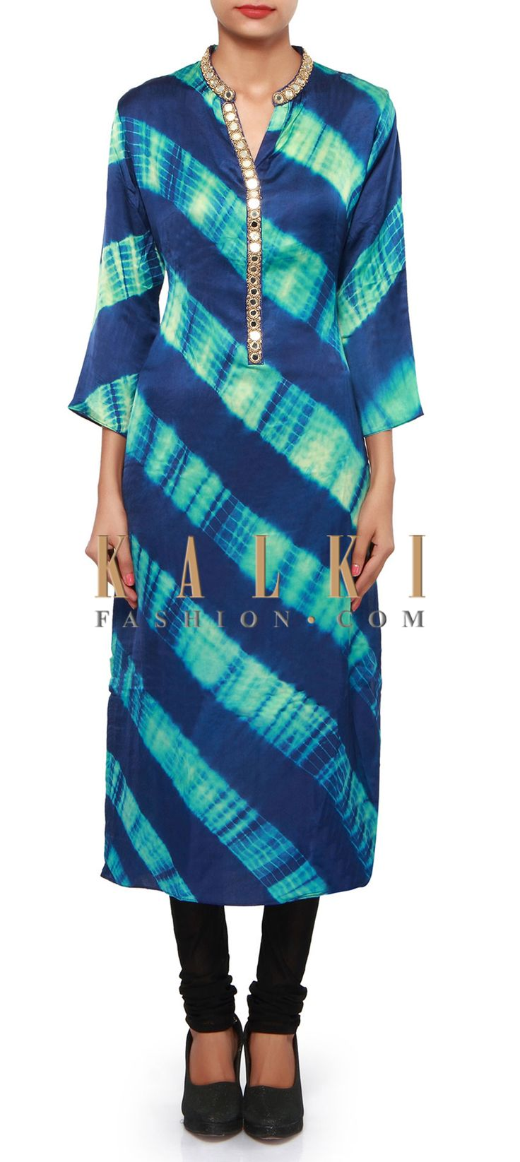 Buy Online from the link below. We ship worldwide (Free Shipping over US$100). Product SKU - 309227.Product Link - http://www.kalkifashion.com/blue-kurti-adorn-in-mirror-and-zari-embroidery-only-on-kalki.html