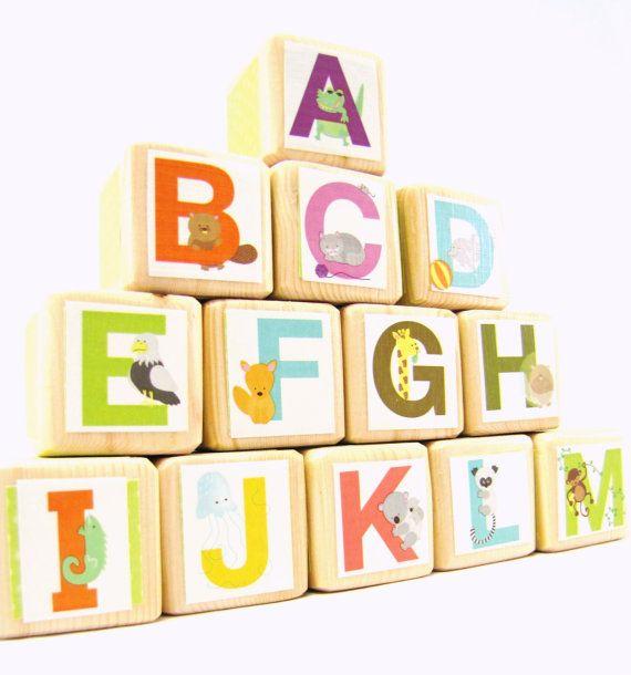 Alphabet Blocks. Wood Toy. abc's. Educational Toddler Toy. Baby Shower Decoration. Colorful. Unisex on Etsy, $46.00