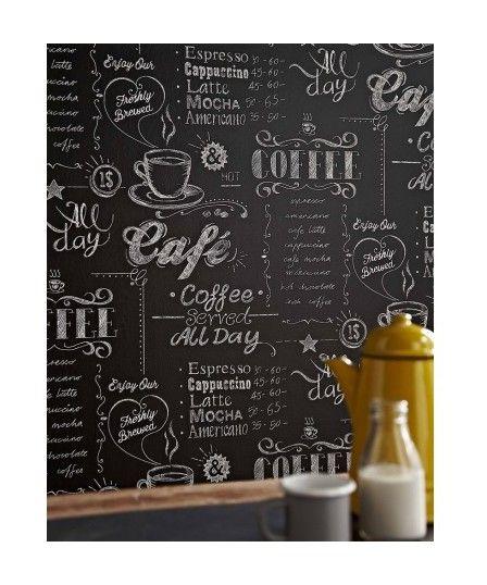 Papier Peint Support Intissé Coffee Shop Noir/Blanc - Revêtement sol et mur