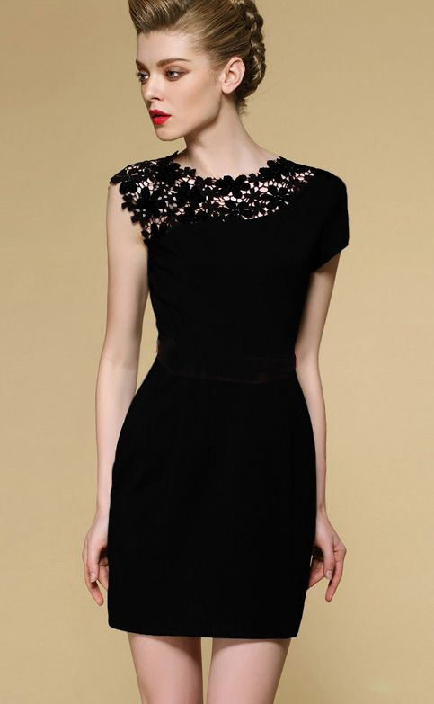 Black Sleeveless Contrast Lace Shoulder Dress - the lace cutout details are just beautiful. #LBD