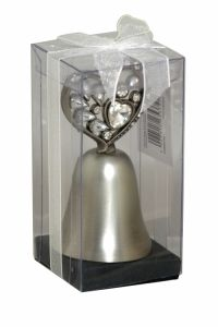 Sil Silver Gem Heart Bell A decorative bell that comes in a gift box.