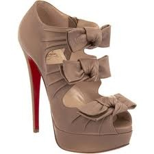 Taupe Peep Toe: Shoes, Louboutin Madame, Butterflies, Christian Louboutin, Bow, High Heels, Christianlouboutin, Butterfly Bootie
