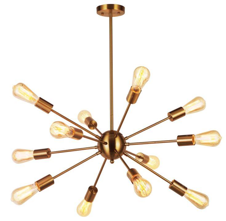 Modern Pendant Lighting 12 Lights Brushed Brass Starburst Sputnik Chandelier Retro Ceiling Light Fixture By TUDOLIGHT