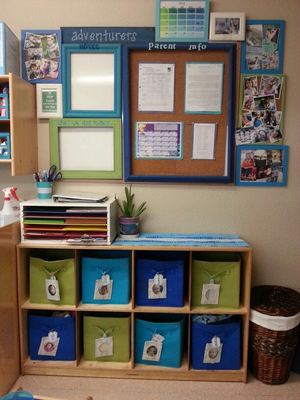 Parent corner, toddler classroom. Preschool classroom, cubby shelf, fabric bins, photo tags, name tags, parent communication binder, daily sheets, parent board, parent communication, what we did today, parent notes, classroom photos, daily photos, about the teachers, lunch menu, snack menu, lesson plans, classroom newsletter, classroom daily schedule.