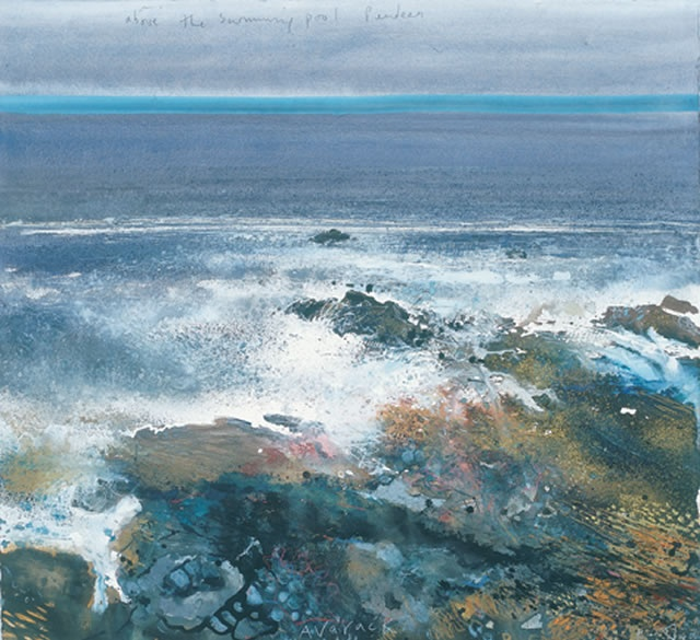 Kurt Jackson - Above The Swimming Pool, Pendeen - Avarack, flowing tide, April 2006.