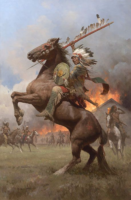 """Cheyenne Burning of Fort Phil Kearney, 1868 by Z.S. Liang LIMITED EDITION CANVAS Image size: 21""""w x 32""""h."""