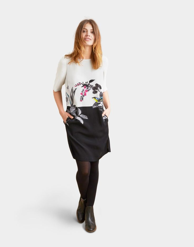 Cynthie Silver Birdberry Woven Dress | Joules UK