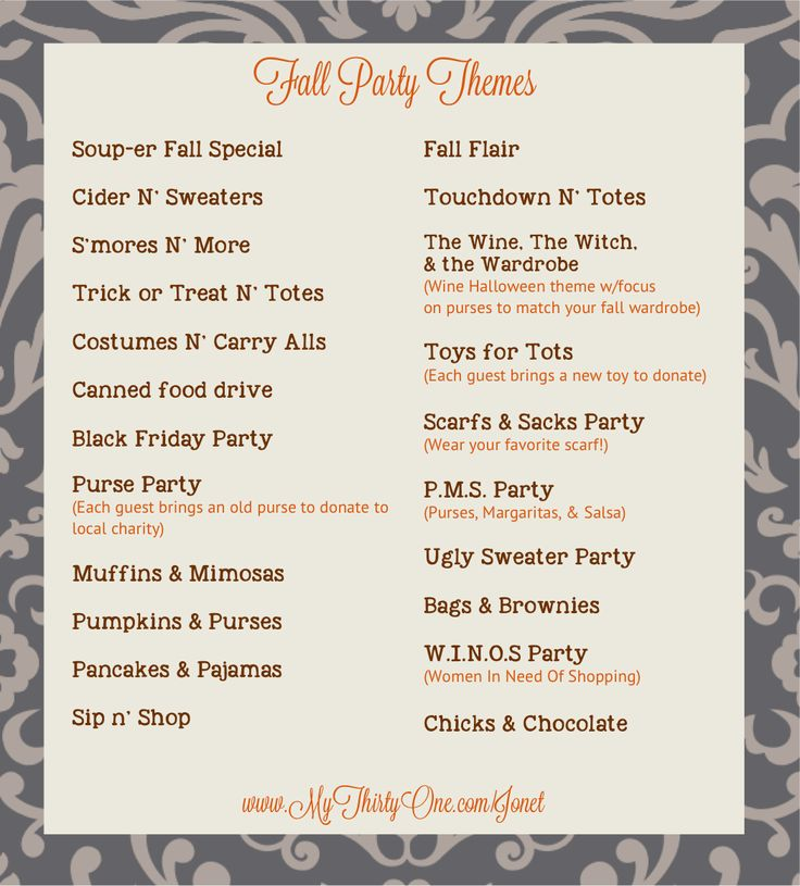 Fall is here!  Pick your party date & pick a theme!  #Thirtyone #party