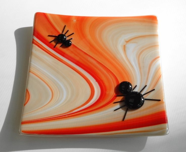 Spider Plate, Halloween Candle Plate, Holiday Fused Glass ...