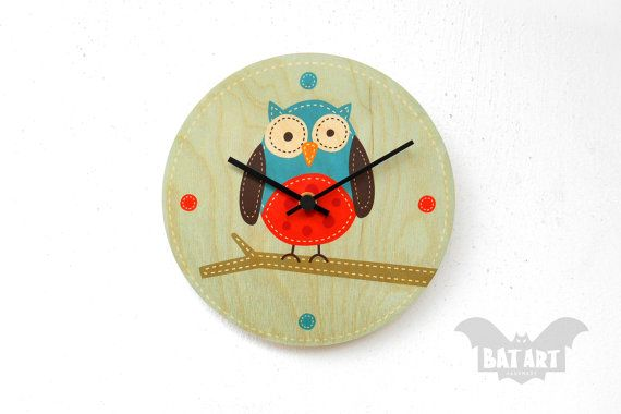 BAT Wall Clock 20cm kids cute owl  Black metal hands  by BatLab